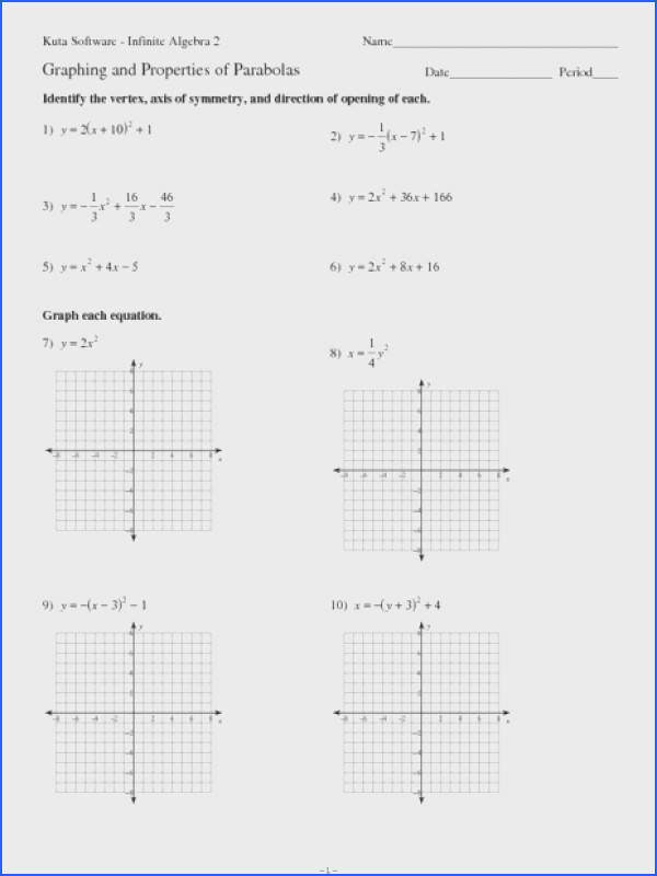 Graphing and Properties of Parabolas Worksheet for 9th 12th Grade