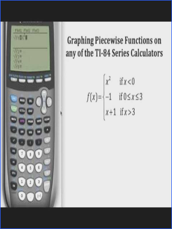 Graphing Piecewise Functions on a TI 84 Series Calculator