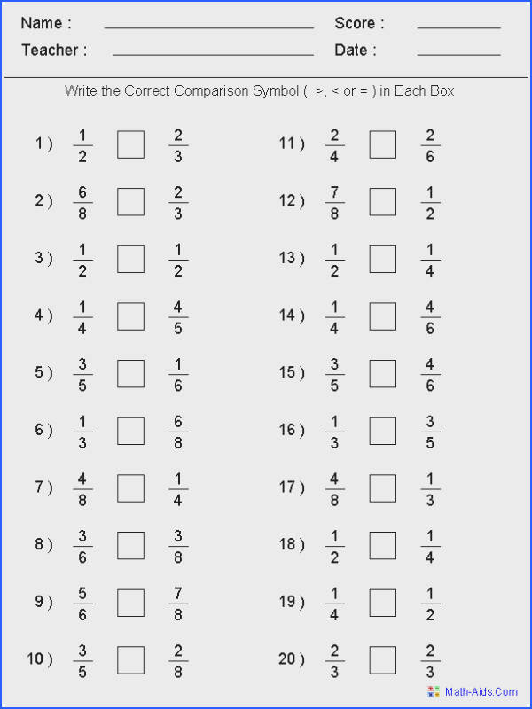 Greater Than Less Than Worksheets Math Aids Image Below Decimals to Fractions Worksheets
