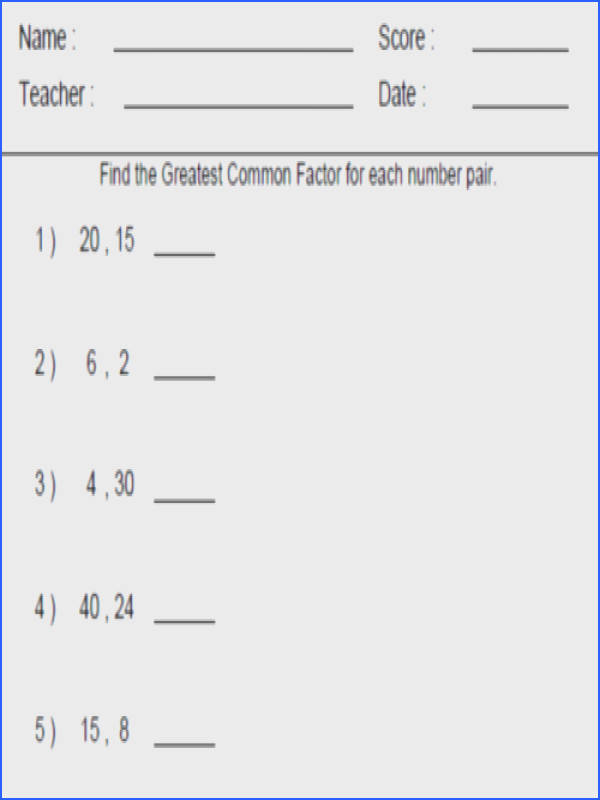Greatest mon Factor And Least mon Multiple Worksheet Worksheets for all Download and Worksheets