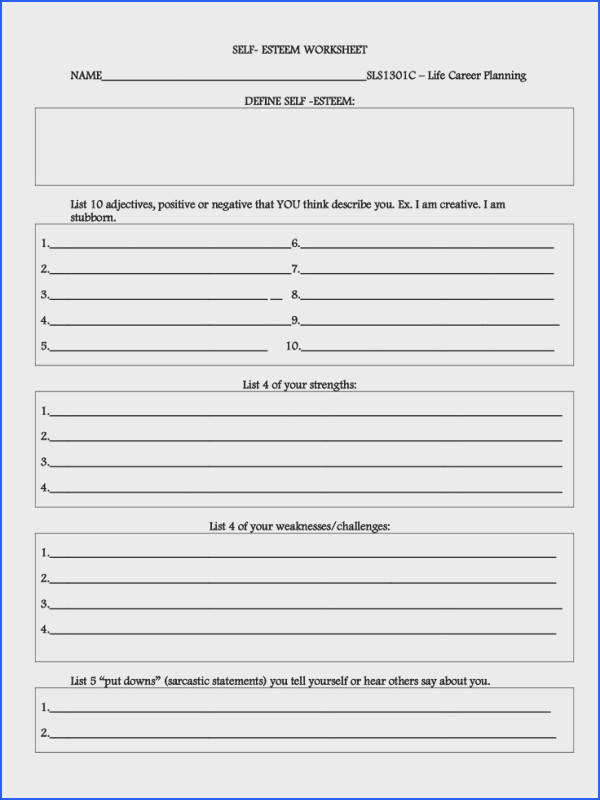 therapy worksheets for teens best 25 self esteem worksheets ideas on pinterest self esteem