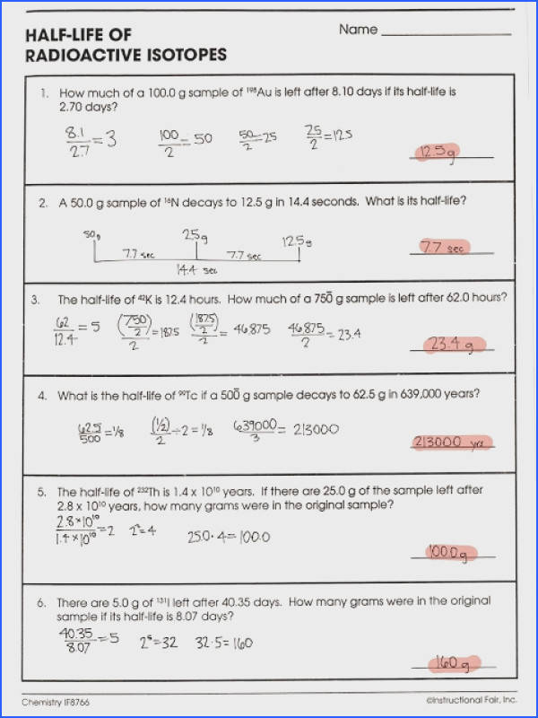 half life of radioactive isotopes worksheet answers half life calculations worksheet free worksheets library