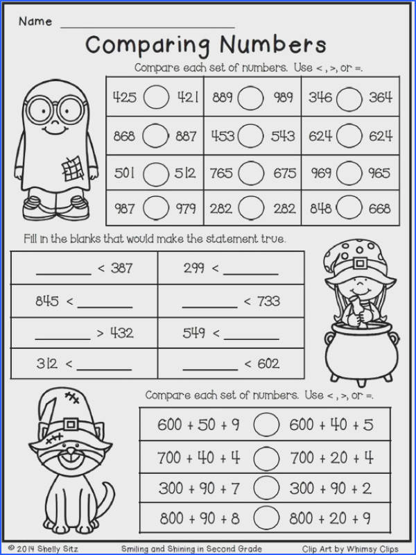 Halloween Math for Second Grade paring Numbers Free