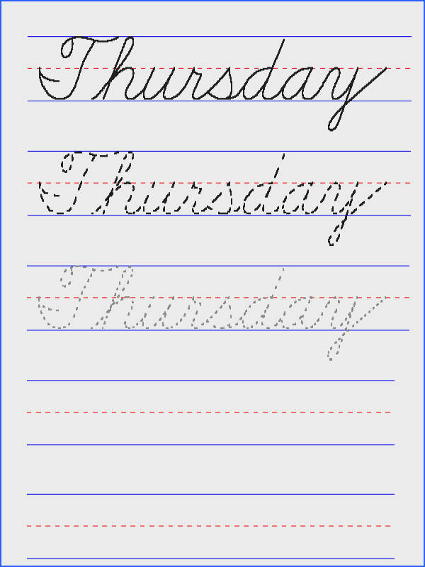 Handwriting for Kids Cursive Day of the Week Thursday
