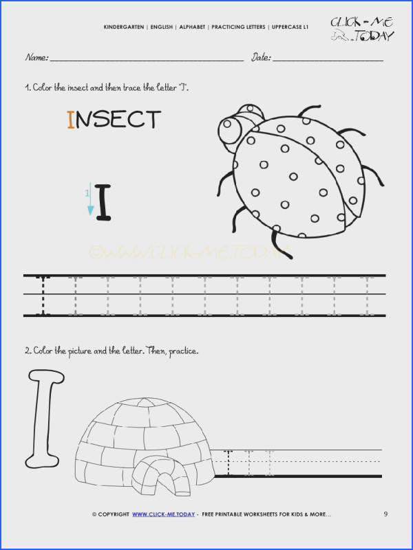 Alphabet handwriting worksheet Letter I