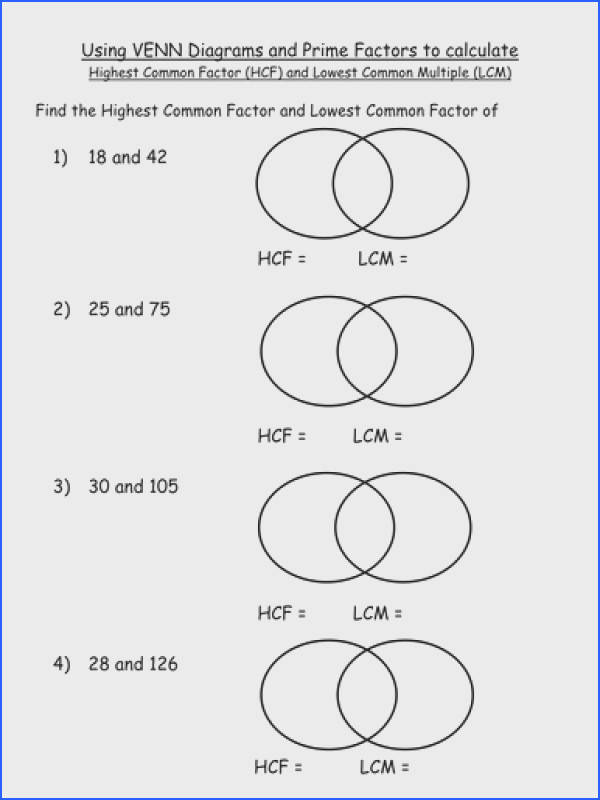 HCF and LCM worksheet including 3 numbers by jhofmannmaths Teaching Resources Tes