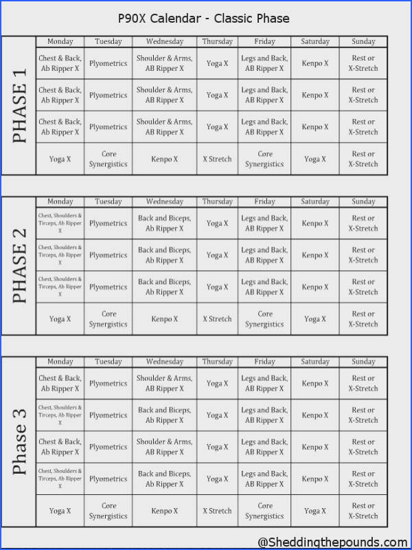 Here is a printable format of the p90x calendar There are various versions for you