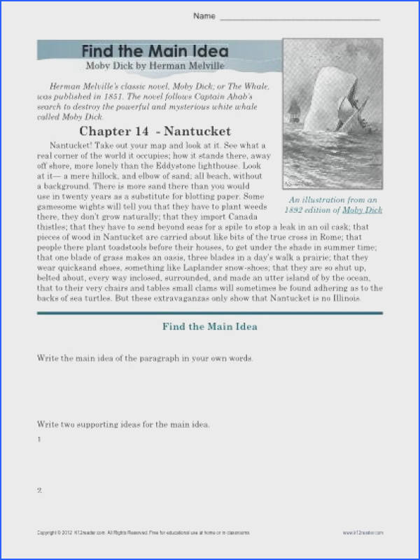 High School Main Idea Worksheet About Moby Dick