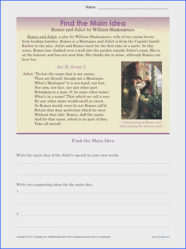 High School Main Idea Worksheet About Romeo & Juliet