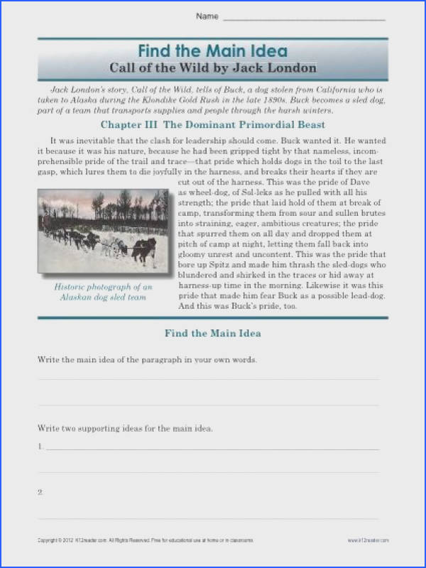 Printable Main Idea Worksheet Activity about Call of the Wild A main idea worksheet about