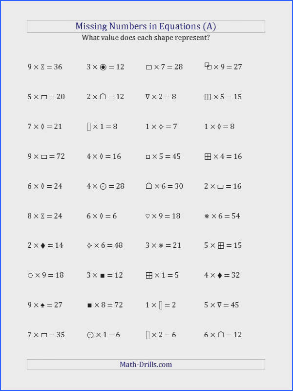 High School Math Printable Worksheets