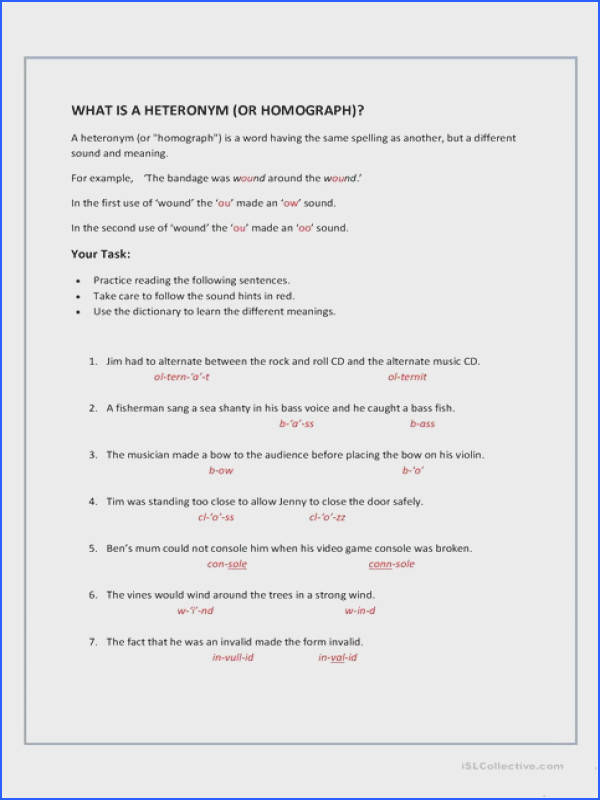 Homographs Heteronyms
