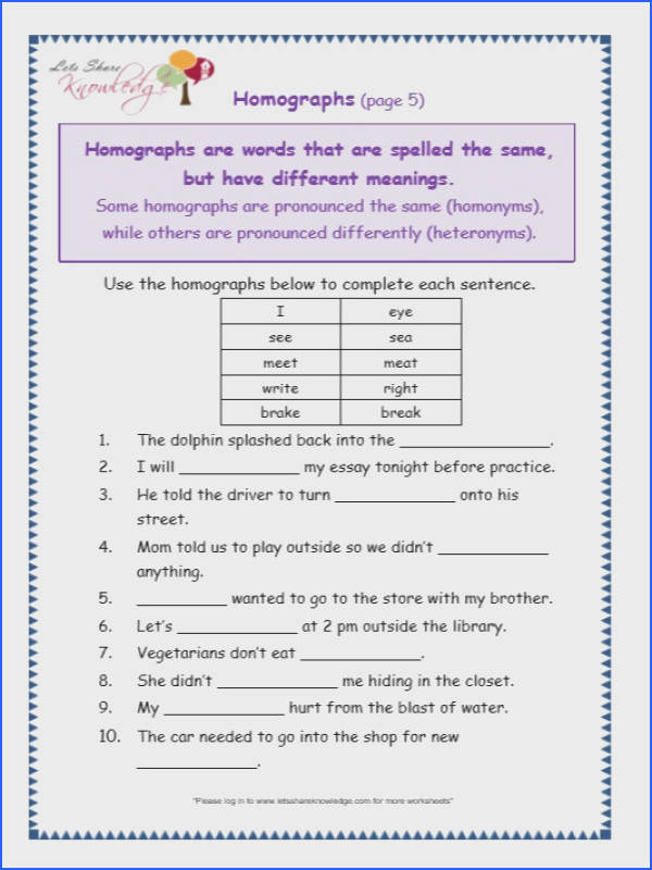 Homographs Worksheets Image Below Homographs Worksheets
