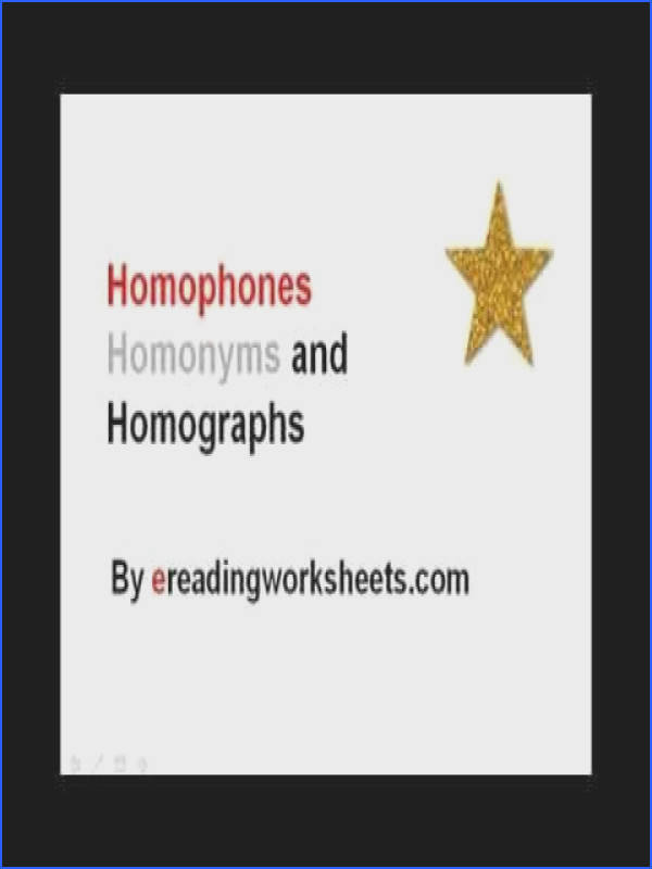Homophones Homonyms and Homographs