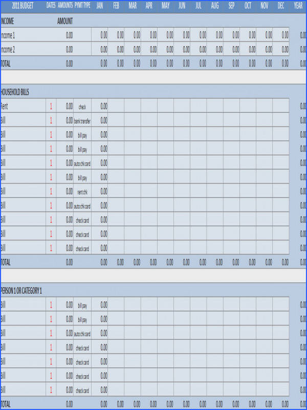 Household Bud Worksheet Excel Template