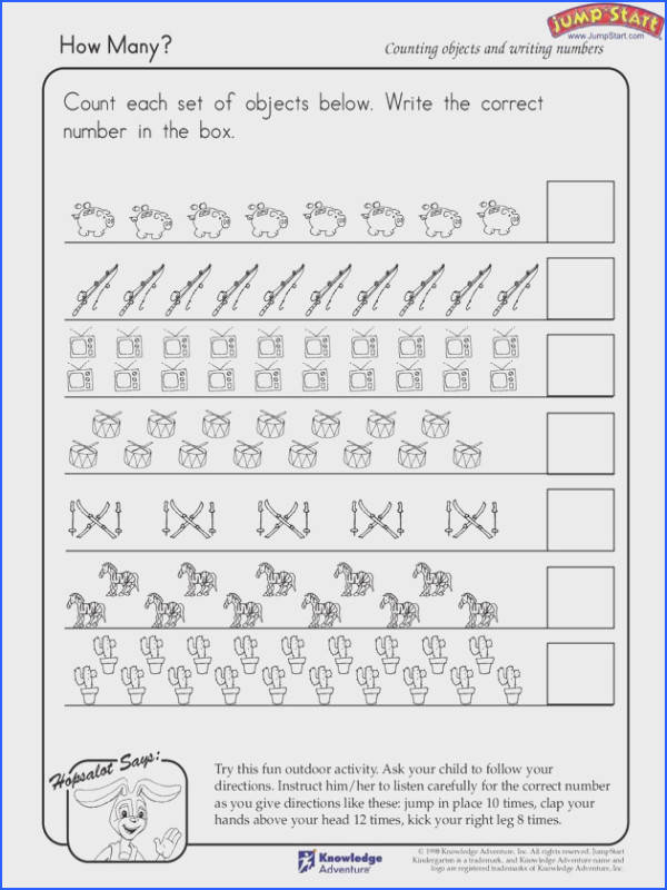 "Writing numbers · ""How Many "" – Kindergarten Math Worksheets JumpStart"