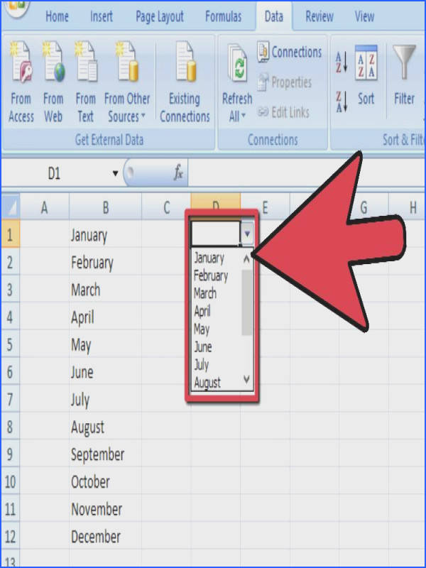 Add a Drop Down Box in Excel 2007 Step 11 Version 3