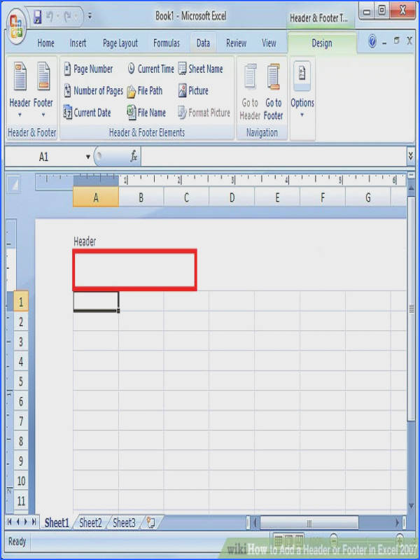 Enchanting How To Add Footer Worksheet In Excel 2007 With How To Add A Header