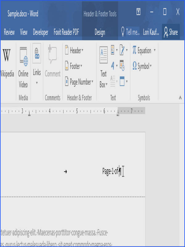 "the ""Quick Parts"" button in the ""Text"" section of the ""Insert"" tab again and select ""Field"" from the drop down menu This time select ""NumPages"" in"