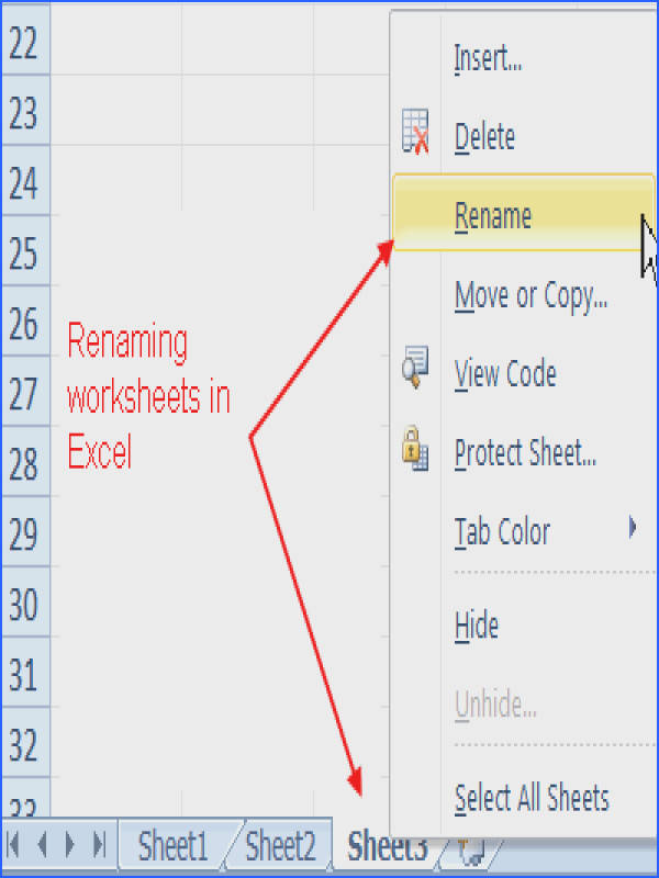 Rename a Worksheet in Excel