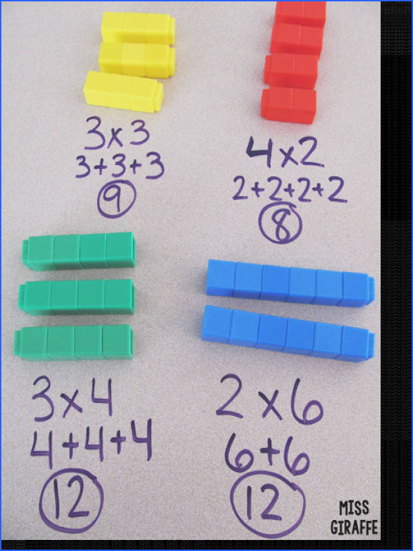 Teaching Multiplication Help kids visualize multiplication as repeated addition with cubes and other fun tips