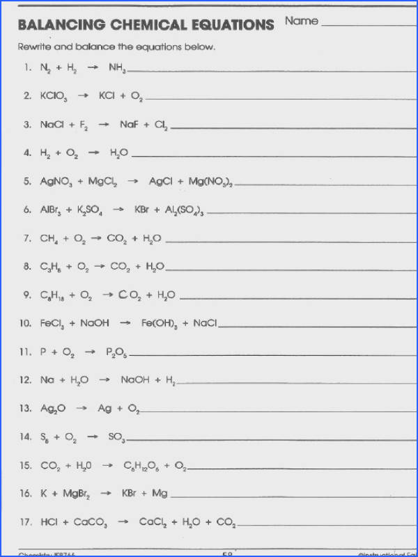 Balancing Reactions Worksheet Chemical Equations