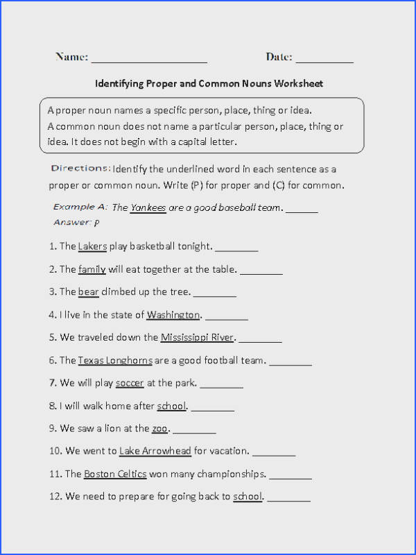 Identifying Nouns Worksheets Worksheets for all Download and Worksheets