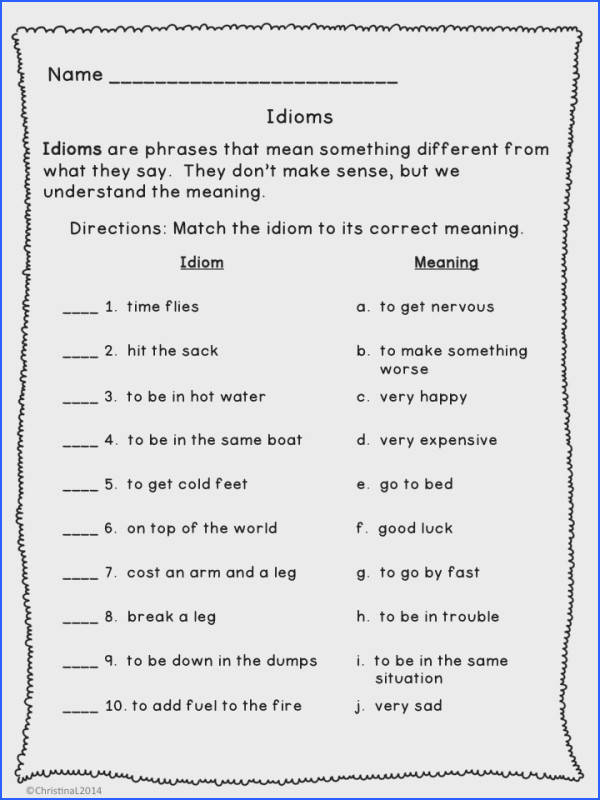 idiom worksheet 3rd grade