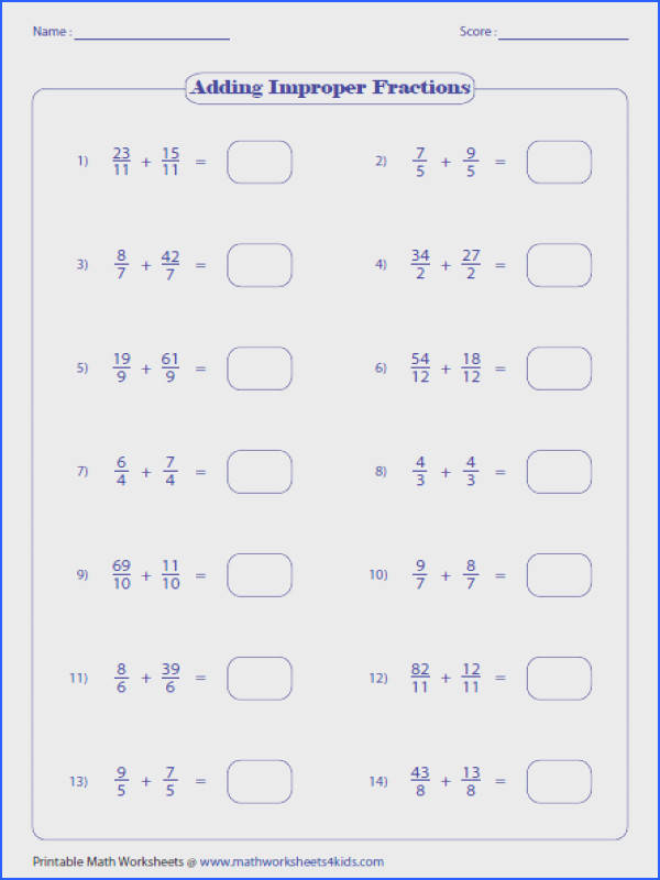 Improper Fractions Addition Same Denominators Image Below Improper Fractions Worksheet