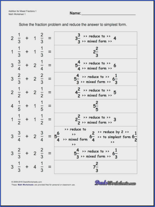 Improper Fractions And Mixed Numbers Worksheets Freeth For Fraction Addition Problems With Answer Converting To Worksheet