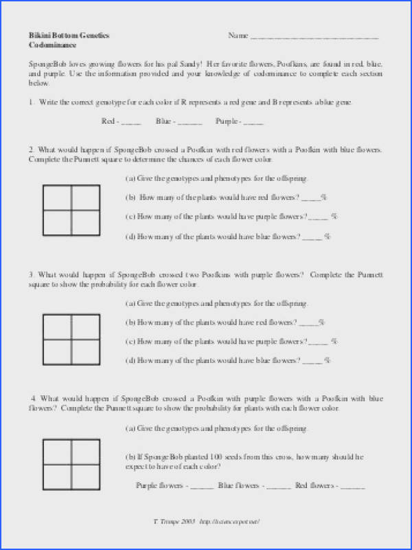 Codominance and In plete Dominance Worksheet 2