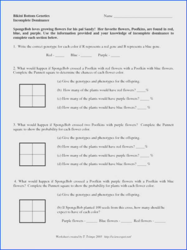 In plete Dominance And Codominance Worksheet Free Worksheets