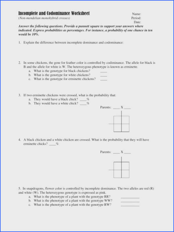 In plete And Codominance Worksheet