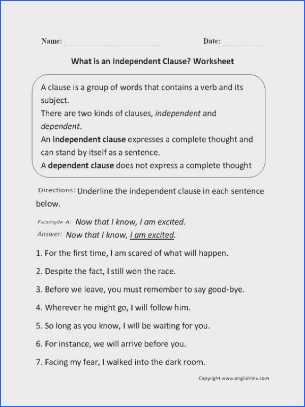 Independent and Dependent Clauses Worksheet Image Below Independent and Dependent Clauses Worksheet