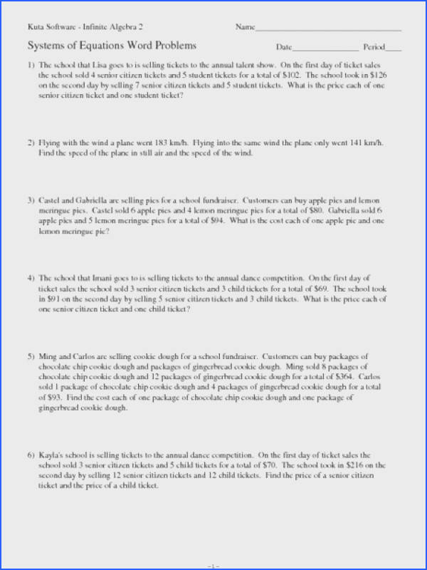 Inequality Word Problems Worksheet Awesome solving Systems Equations Word Problems Worksheet Free Image Inequality Word