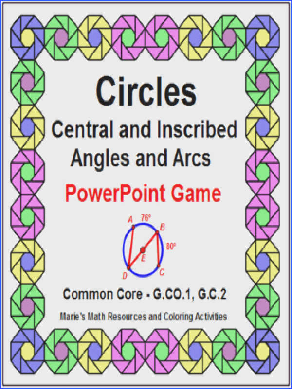 CIRCLES CENTRAL AND INSCRIBED ANGLES AND ARCS POWERPOINT GAME WIPE OUT