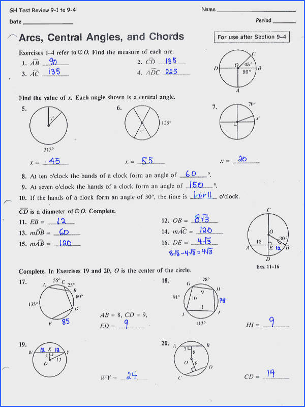 Inscribed Angles Worksheet Mychaume