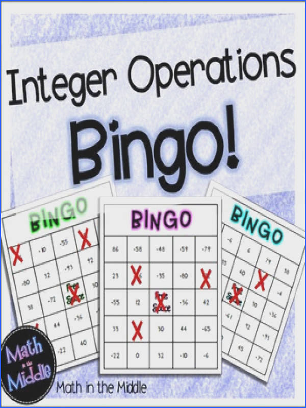 Integer Operations Bingo Math Review Game