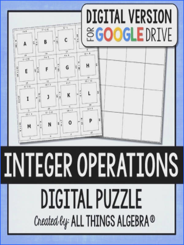 Integer Operations Puzzle GOOGLE SLIDES VERSION