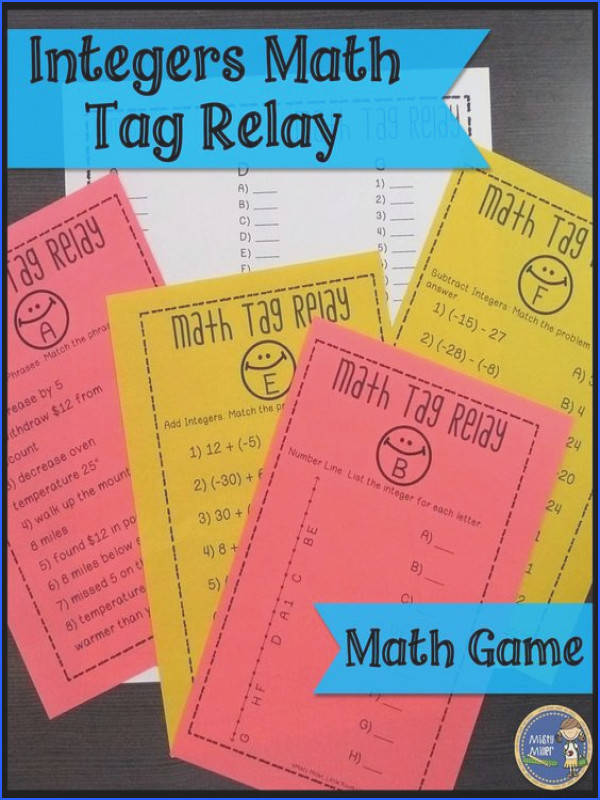 Integers Math Tag Relay Engage your math students with an entertaining game that will