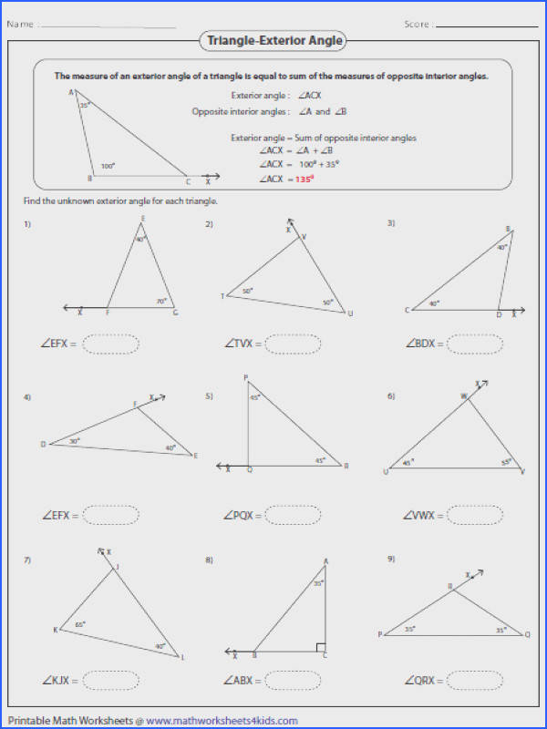 Interior And Exterior Angles Irregular Polygons Worksheet