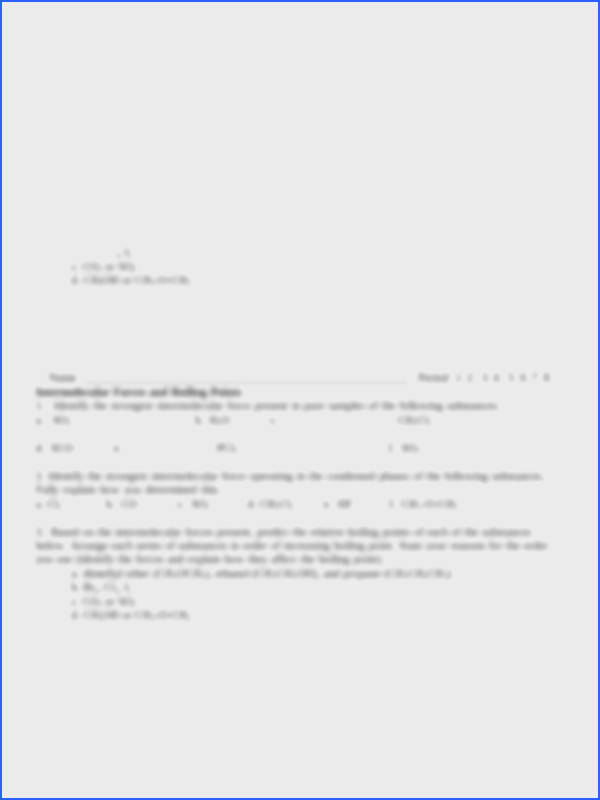 1 pages Intermolecular Force Worksheet