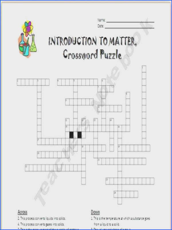 Introduction to Matter Crossword