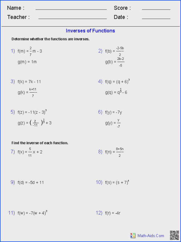 Inverse Functions and Logarithms Worksheets
