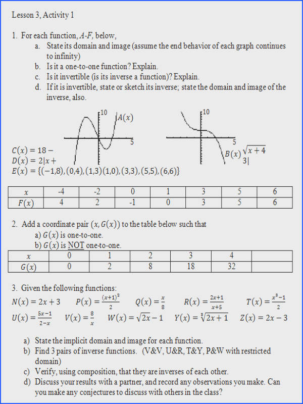 Inverse Functions Worksheet Precalculus Worksheets for all Download and Worksheets