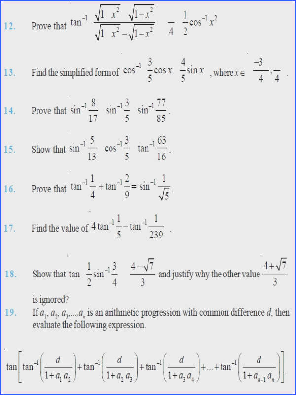Inverse Functions Worksheet with Answers Fresh Class 12 Important Questions for Maths – Inverse Trigonometric graph