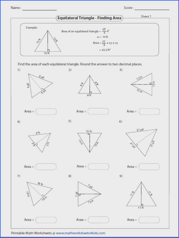 Area of equilateral triangle Triangles Worksheets from Isosceles
