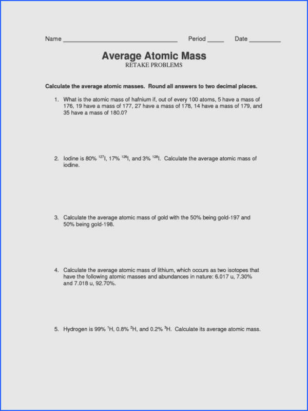 Average Atomic Mass Worksheet Mychaume