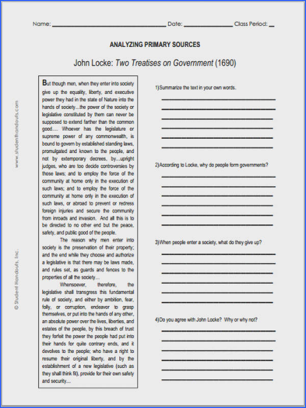 John Locke Enlightenment Two Treatises on Government Primary Source Worksheet for Grades 9