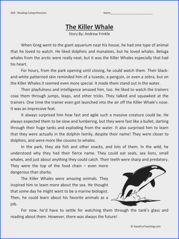 Killer Whales – Reading prehension Worksheet